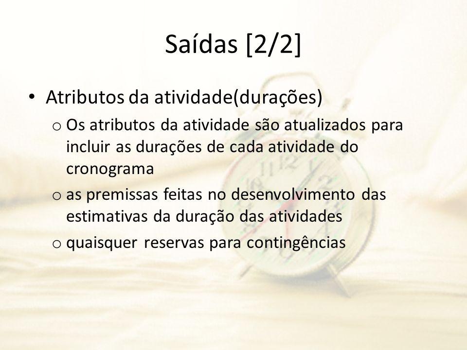 Saídas [2/2] Atributos da atividade(durações)